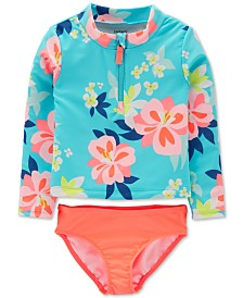 Carter's Baby Girls 2-Pc. Floral-Print Rash Guard Set