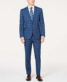 Unlisted Men's Slim-Fit Stretch Blue Graph Plaid Suit