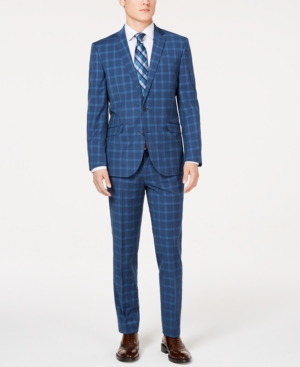 Men's Vintage Style Suits, Classic Suits Kenneth Cole Unlisted Mens Slim-Fit Stretch Blue Graph Plaid Suit $129.99 AT vintagedancer.com