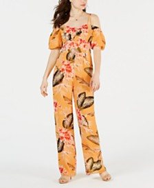 GUESS Valtina Printed Off-The-Shoulder Jumpsuit