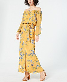 INC Long-Sleeve Off-the-Shoulder Floral Maxi Dress, Created for Macy's