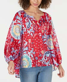 Style & Co Brilliant Burst Patchwork Peasant Blouse, Created for Macy's