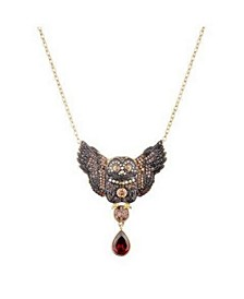 Multi-Colored Cubic Zirconia Owl Necklace