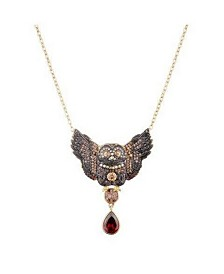 Noir Multi-Colored Cubic Zirconia Owl Necklace