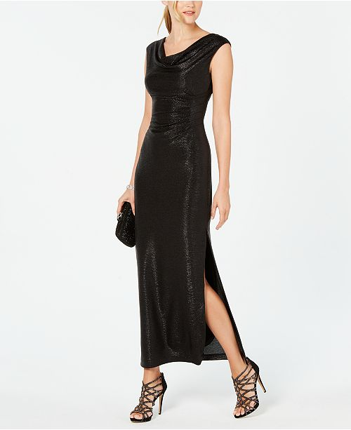 Connected Metallic Cowlneck Gown
