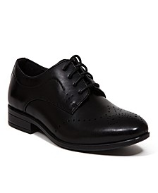 Little and Big Boys Zeke Classic Dress Comfort Perforated Wingtip Oxford