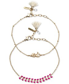 lonna & lilly Gold-Tone 2-Pc. Set Mermaid & Stone-Accent Ankle Bracelets