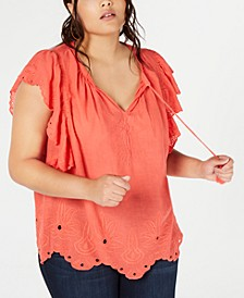 Trendy Plus Size Cotton Peasant Top