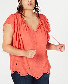 Jessica Simpson Trendy Plus Size Cotton Peasant Top