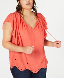Jessica Simpson Trendy Plus Size Cotton Peasant Top