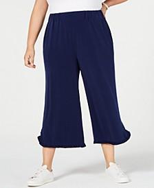 Plus Size Ruffled-Hem Cropped Pants