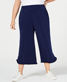 MICHAEL Michael Kors Plus Size Ruffled-Hem Cropped Pants