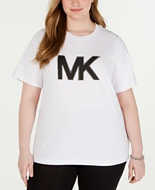 MICHAEL Michael Kors Plus Size Studded Logo Cotton T-Shirt