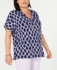 MICHAEL Michael Kors Plus Size Ikat-Print Lace-Up Tunic Top