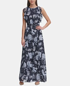 Tommy Hilfiger Petite Printed Chiffon Maxi Dress