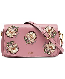 DKNY Paige Floral Leather Flap Crossbody, Created for Macy's