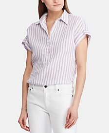 Lauren Ralph Lauren Petite Striped Linen Shirt