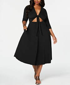 Rebdolls Front Tied Skater Dress by The Workshop at Macy's, Regular & Plus Sizes