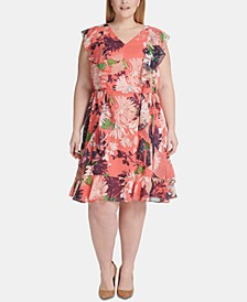 Plus Size Floral Ruffle Chiffon Dress