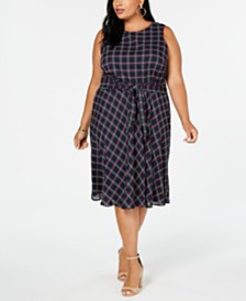 Jessica Howard Plus Size Sleeveless Tie-Front Dress