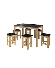 "Manhattan Comfort 7-Piece Stillwell 47.25"" Rectangle Dining Set in Wood-OVER-MAX"