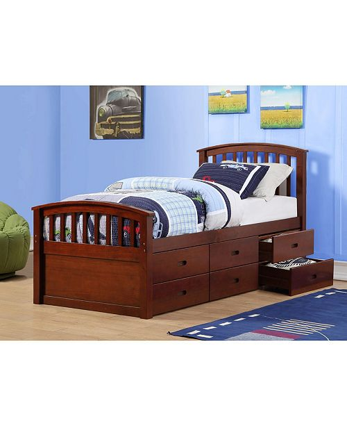 Donco Kids Twin Spindle Mission Captains Bed with 6 Drawers