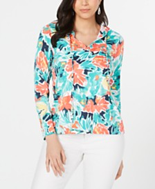 Charter Club Floral-Print Hoodie Top, Created for Macy's