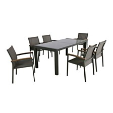Luton Outdoor 7pc Dining Set, Quick Ship