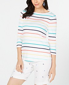 Pima Cotton Striped Boat-Neck Top, Created for Macy's