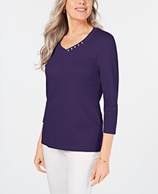 Cotton V-Neck Button-Trim Top, Created for Macy's