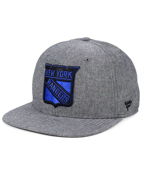 Authentic NHL Headwear New York Rangers Chambray Emblem Snapback Cap