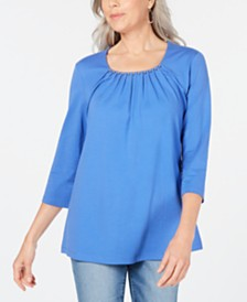 Karen Scott Beaded Scoop-Neck Top, Created for Macy's