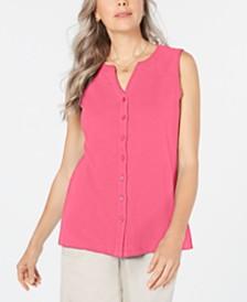 Karen Scott Cotton Sleeveless Button-Up Top, Created for Macy's