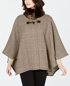Jones New York Faux-Fur-Collar Plaid Cape Coat