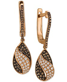 Le Vian Chocolatier® Chocolate Diamond® & Vanilla Diamond® Drop Earrings (5/8 ct. t.w.) in 14k Rose Gold