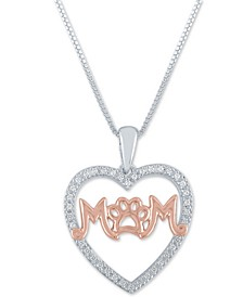 "Diamond Mom Paw-Print 18"" Pendant Necklace (1/10 ct. t.w.) in Sterling Silver and 14k Rose Gold Over Sterling Silver"