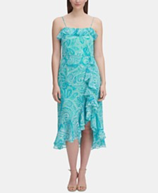 Tommy Hilfiger Paisley Chiffon Ruffle Dress