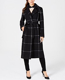 Belted Plaid Maxi Coat