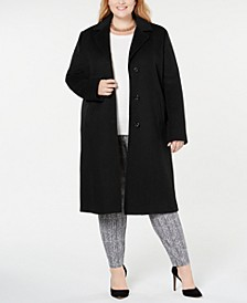 Plus Size Notch Collar Single Breasted Reefer Maxi Coat