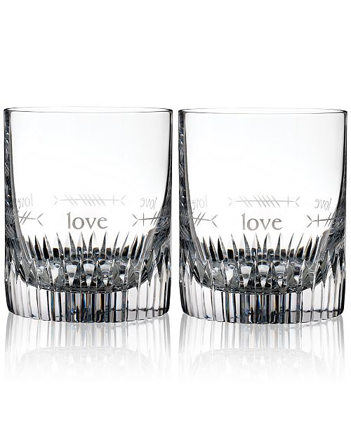 Waterford Ogham Love Double Old-Fashioned Glasses, Set of 2