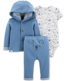 Baby Boys Cotton Cardigan, Printed Bodysuit & Bear Pants