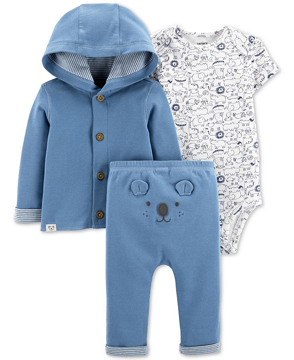 Carter's Baby Boys Cotton Cardigan, Printed Bodysuit & Bear Pants