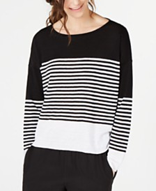 Eileen Fisher Organic Cotton/Linen Striped Sweater
