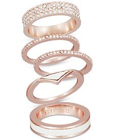 GUESS Rose Gold-Tone 5-Pc. Set Crystal & Epoxy Stack Rings