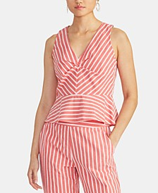 Alonza Sleeveless Striped Peplum Top