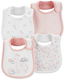 Baby Girls 4-Pack Printed Cotton Bibs