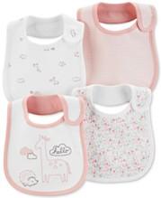 b3195017432f Carter's Baby Girls 4-Pack Printed Cotton Bibs
