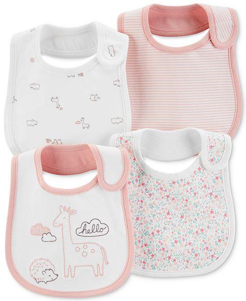Carter's Baby Girls 4-Pack Printed Cotton Bibs
