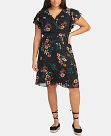RACHEL Rachel Roy Trendy Plus Size  Floral-Print Surplice Dress