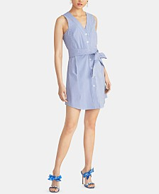 RACHEL Rachel Roy Sabrina Sleeveless Seersucker Tie-Waist Cotton Dress